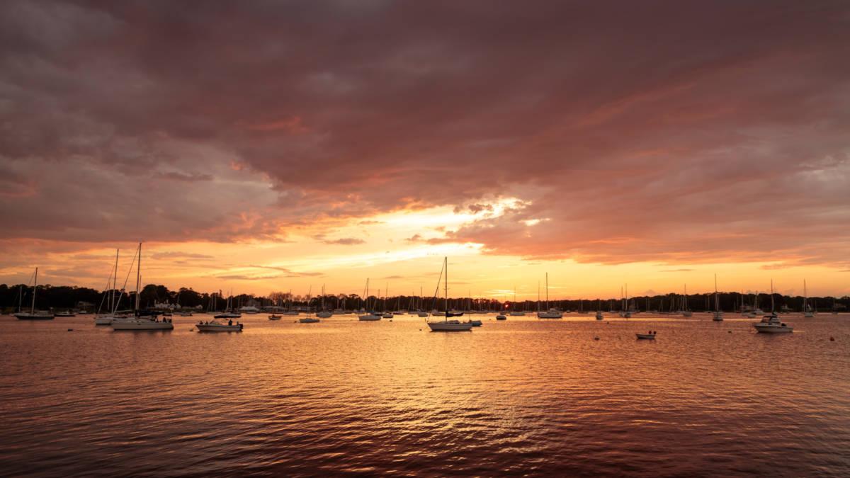 Sunset over Bristol Harbor, June 2019.