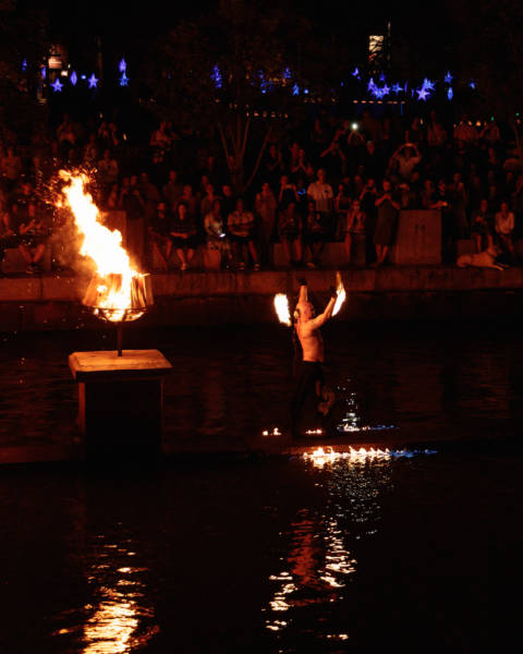 Fire Spinner During WaterFire