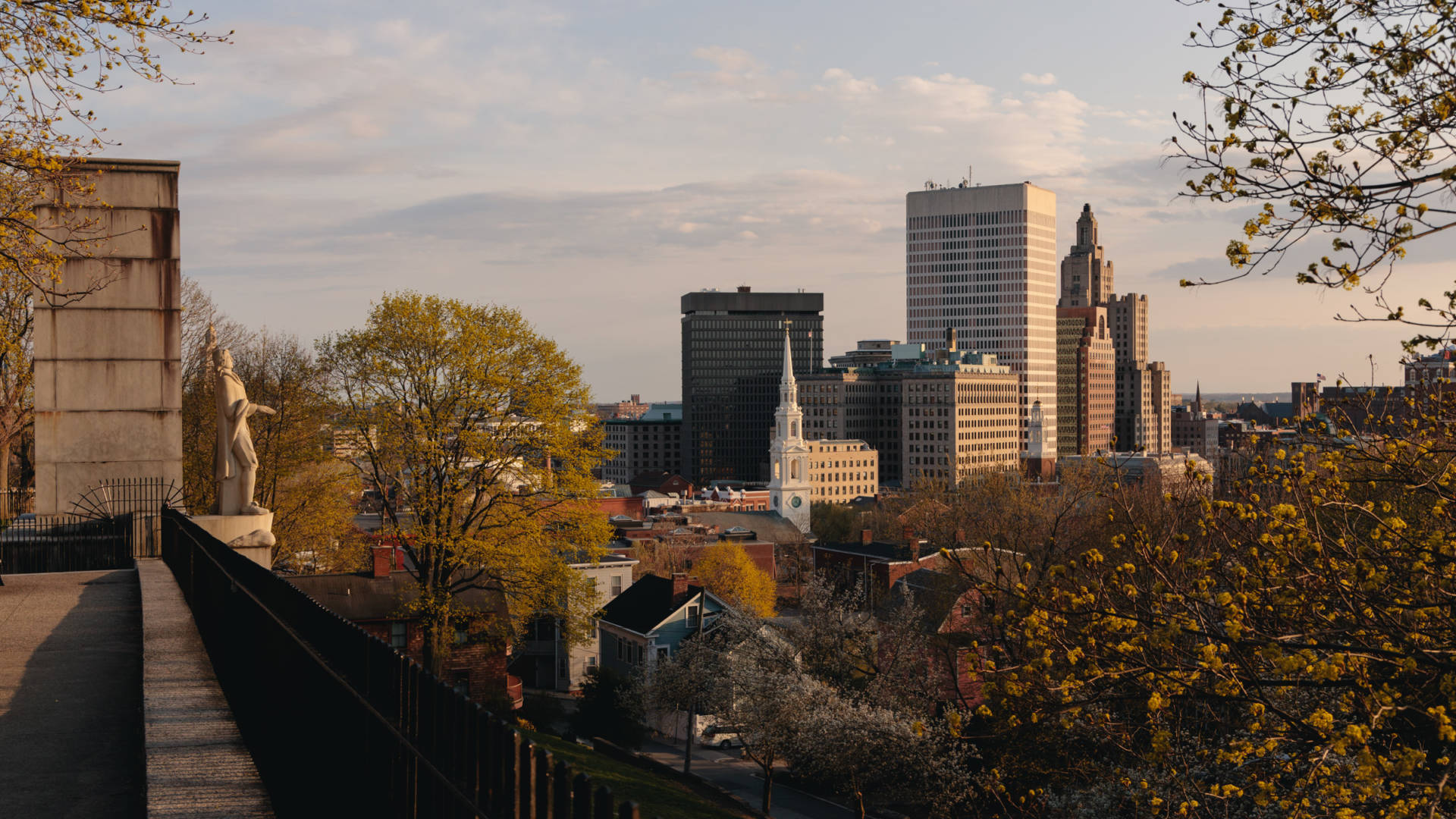 Spring evening at Prospect Terrace Park in Providence