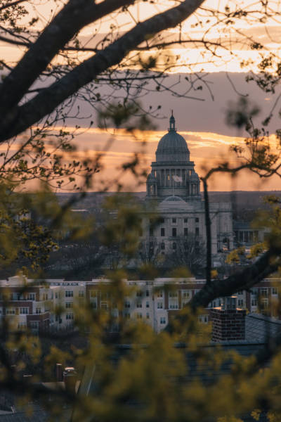 Springtime Statehouse Sunset through the Trees, 2021